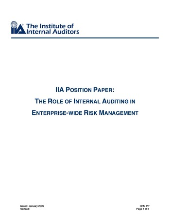 IIA Position paper - The role of internal auditing in entreprise-wide risk management page 1