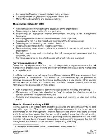 IIA Position paper - The role of internal auditing in entreprise-wide risk management page 3
