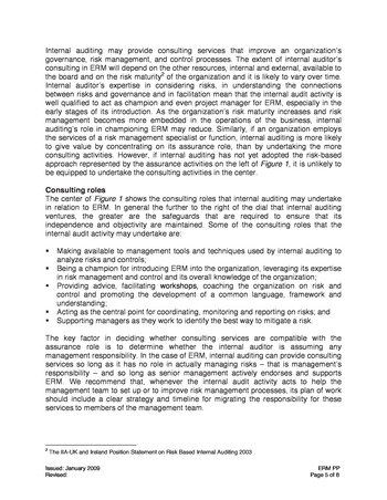 IIA Position paper - The role of internal auditing in entreprise-wide risk management page 5