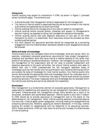 IIA Position paper - The role of internal auditing in entreprise-wide risk management page 6