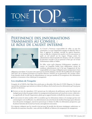 Tone at the top 84 - Pertinence des informations transmises au Conseil : le rôle de l'audit interne / oct 2017 page 1
