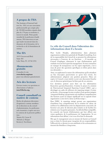 Tone at the top 84 - Pertinence des informations transmises au Conseil : le rôle de l'audit interne / oct 2017 page 2