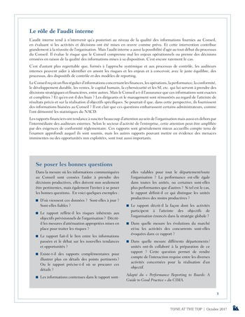 Tone at the top 84 - Pertinence des informations transmises au Conseil : le rôle de l'audit interne / oct 2017 page 3