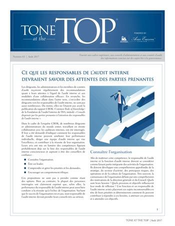 Tone at the top 83 - Ce que les responsables de l'audit interne devraient savoir des attentes des parties prenantes / août 2017 page 1