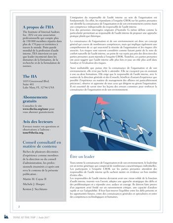 Tone at the top 83 - Ce que les responsables de l'audit interne devraient savoir des attentes des parties prenantes / août 2017 page 2