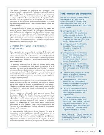Tone at the top 83 - Ce que les responsables de l'audit interne devraient savoir des attentes des parties prenantes / août 2017 page 3