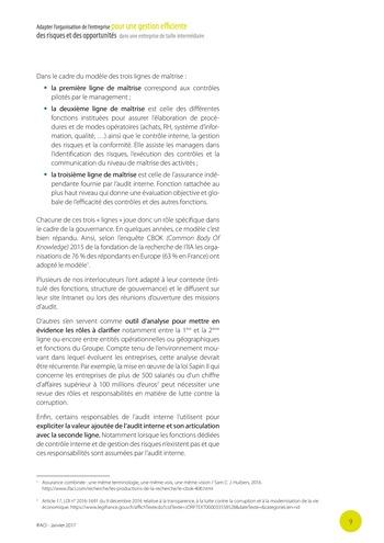 Adapter l'organisation de l'entreprise pour une gestion efficiente des risques et des opportunités dans une entreprise de taille intermédiaire page 10