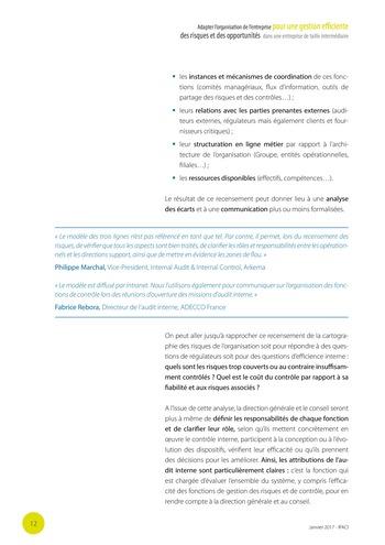 Adapter l'organisation de l'entreprise pour une gestion efficiente des risques et des opportunités dans une entreprise de taille intermédiaire page 13