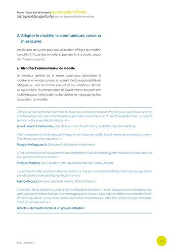 Adapter l'organisation de l'entreprise pour une gestion efficiente des risques et des opportunités dans une entreprise de taille intermédiaire page 14