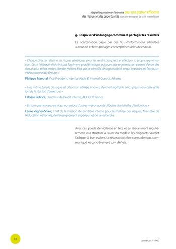 Adapter l'organisation de l'entreprise pour une gestion efficiente des risques et des opportunités dans une entreprise de taille intermédiaire page 19