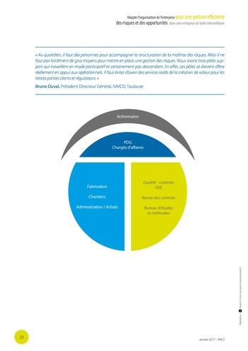 Adapter l'organisation de l'entreprise pour une gestion efficiente des risques et des opportunités dans une entreprise de taille intermédiaire page 21