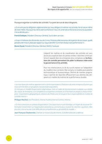 Adapter l'organisation de l'entreprise pour une gestion efficiente des risques et des opportunités dans une entreprise de taille intermédiaire page 5