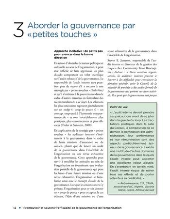 Promouvoir et soutenir l'efficacité de la gouvernance de l'organisation page 12