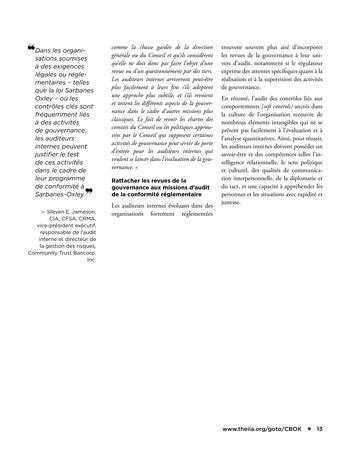 Promouvoir et soutenir l'efficacité de la gouvernance de l'organisation page 13