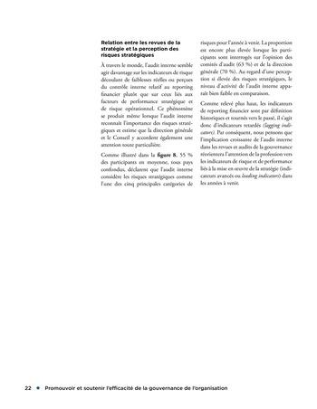 Promouvoir et soutenir l'efficacité de la gouvernance de l'organisation page 22