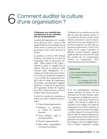 Promouvoir et soutenir l'efficacité de la gouvernance de l'organisation page 23