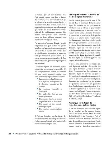 Promouvoir et soutenir l'efficacité de la gouvernance de l'organisation page 24