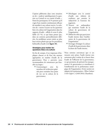 Promouvoir et soutenir l'efficacité de la gouvernance de l'organisation page 26