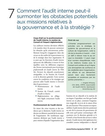 Promouvoir et soutenir l'efficacité de la gouvernance de l'organisation page 27