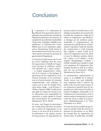Promouvoir et soutenir l'efficacité de la gouvernance de l'organisation page 31