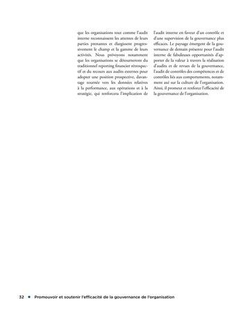 Promouvoir et soutenir l'efficacité de la gouvernance de l'organisation page 32