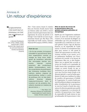 Promouvoir et soutenir l'efficacité de la gouvernance de l'organisation page 33