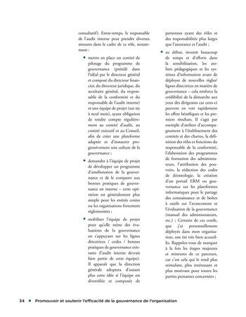 Promouvoir et soutenir l'efficacité de la gouvernance de l'organisation page 34