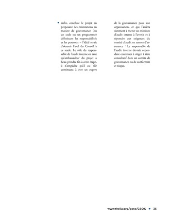 Promouvoir et soutenir l'efficacité de la gouvernance de l'organisation page 35