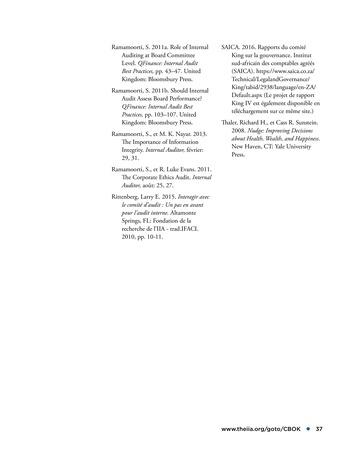 Promouvoir et soutenir l'efficacité de la gouvernance de l'organisation page 37