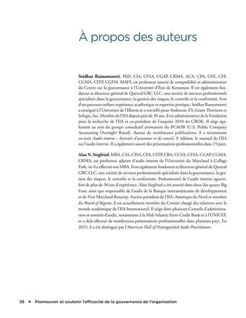 Promouvoir et soutenir l'efficacité de la gouvernance de l'organisation page 38