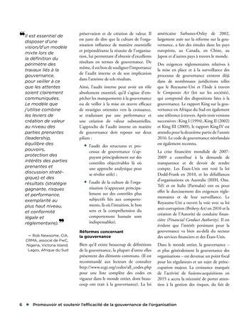 Promouvoir et soutenir l'efficacité de la gouvernance de l'organisation page 6