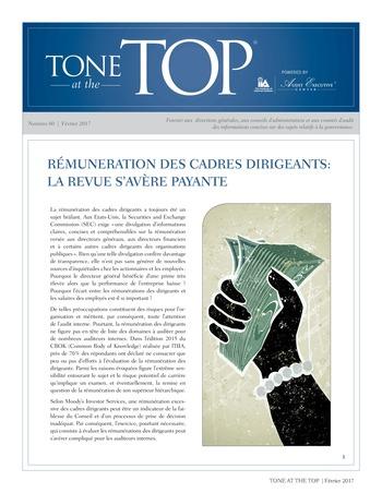 Tone at the top 80 - Rémunération des cadres dirigeants : la revue s'avère payante / fev 2017 page 1