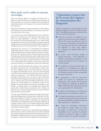 Tone at the top 80 - Rémunération des cadres dirigeants : la revue s'avère payante / fev 2017 page 3