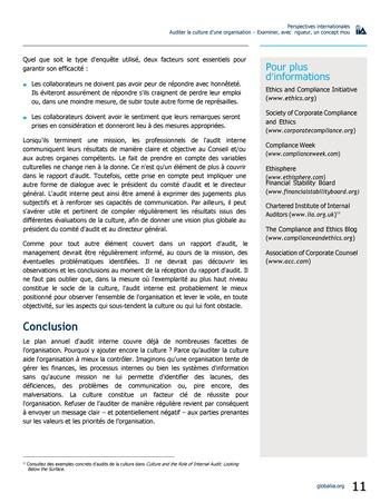 Perspectives internationales - Auditer la culture d'une organisation : examiner, avec rigueur, un concept mou page 11