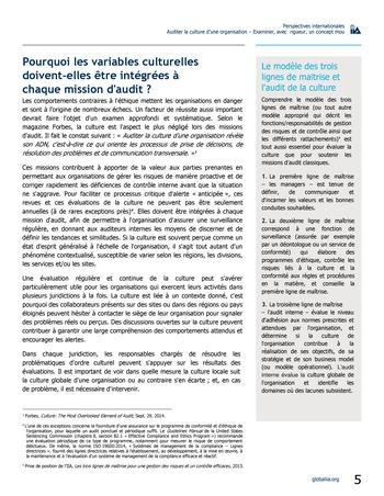 Perspectives internationales - Auditer la culture d'une organisation : examiner, avec rigueur, un concept mou page 5
