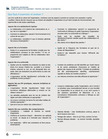 Perspectives internationales - Auditer la culture d'une organisation : examiner, avec rigueur, un concept mou page 6