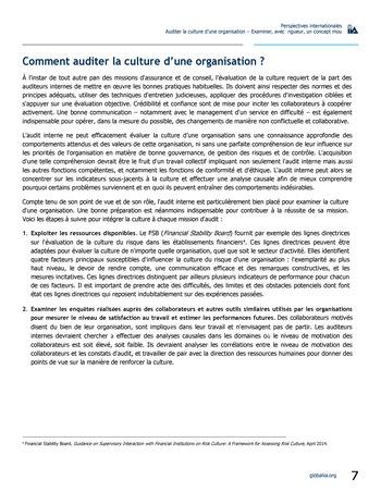 Perspectives internationales - Auditer la culture d'une organisation : examiner, avec rigueur, un concept mou page 7