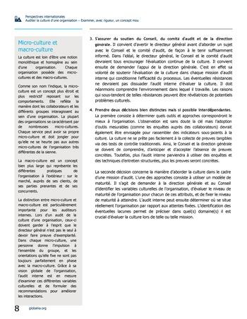 Perspectives internationales - Auditer la culture d'une organisation : examiner, avec rigueur, un concept mou page 8