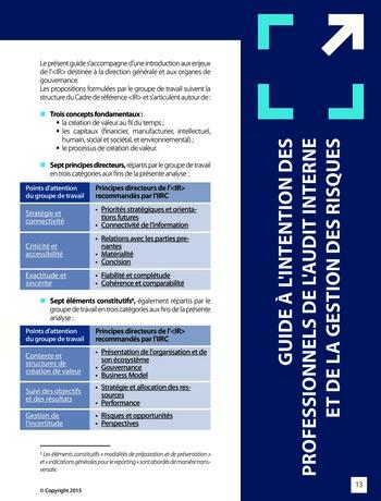 Améliorer le reporting intégré - La valeur ajoutée de l'audit interne page 19