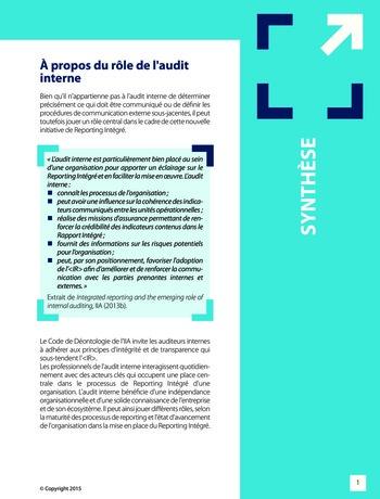 Améliorer le reporting intégré - La valeur ajoutée de l'audit interne page 7