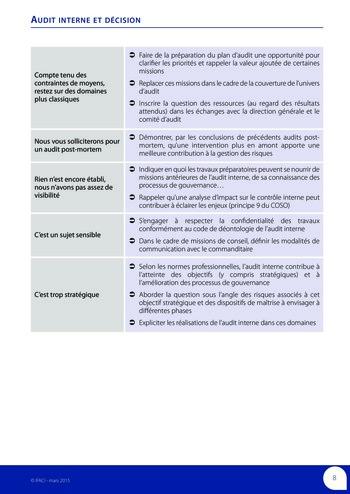 Audit interne et décision page 10