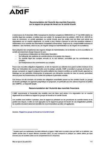 Recommandation de l'Autorité des marchés financiers sur le rapport du groupe de travail sur le comité d'audit page 1