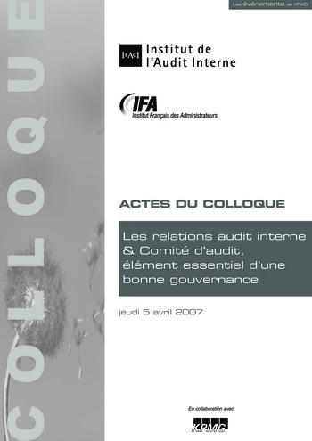 Les relations audit interne & Comité d'audit, élément essentiel d'une bonne gouvernance page 1