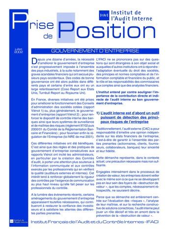 Prise de position - Gouvernement d'entreprise (Juil. 2002) page 1