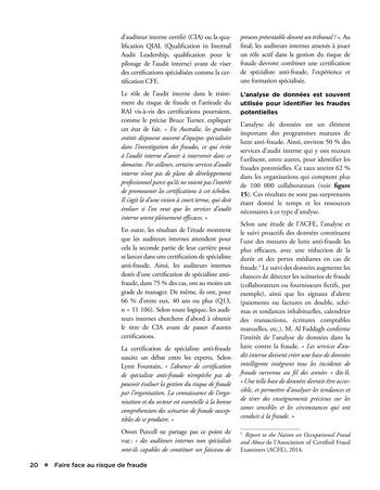 Faire face au risque de fraude page 20