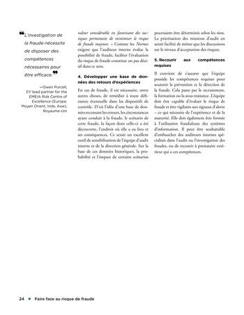 Faire face au risque de fraude page 24