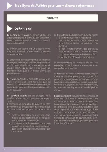 Trois lignes de maîtrise pour une meilleure performance / AMRAE, IFACI page 12