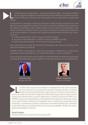 Trois lignes de maîtrise pour une meilleure performance / AMRAE, IFACI page 3