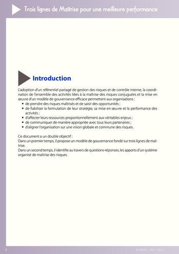 Trois lignes de maîtrise pour une meilleure performance / AMRAE, IFACI page 4