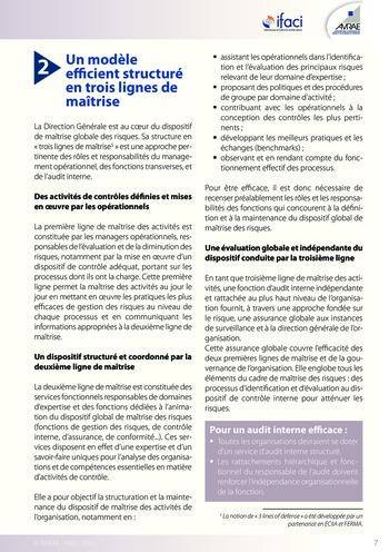 Trois lignes de maîtrise pour une meilleure performance / AMRAE, IFACI page 7